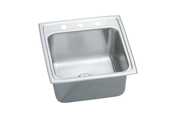 "Elkay Gourmet Stainless Steel 19-1/2"" x 19"" x 10-1/8"", Single Bowl Top Mount Laundry Sink with Perfect Drain"