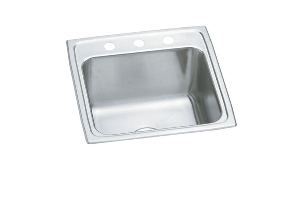 "Elkay Lustertone Stainless Steel 19-1/2"" x 19"" x 10-1/8"", Single Bowl Top Mount Laundry Sink"