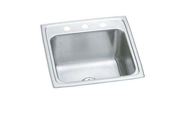 "Elkay Lustertone Stainless Steel 19-1/2"" x 19"" x 10-1/8"", Single Bowl Top Mount Laundry Sink with Perfect Drain"