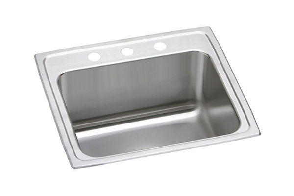 "Elkay Lustertone Stainless Steel 25"" x 21-1/4"" x 10-1/8"", Single Bowl Top Mount Sink with Perfect Drain"