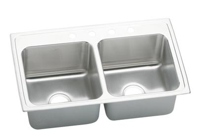 "Image for Elkay Gourmet Stainless Steel 33"" x 19-1/2"" x 10-1/8"", Equal Double Bowl Top Mount Sink from ELKAY"