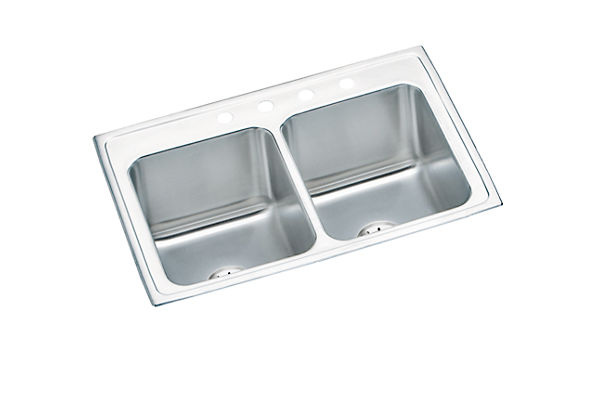 "Elkay Lustertone Classic Stainless Steel 33"" x 22"" x 10-1/8"", Equal Double Bowl Drop-in Sink with Perfect Drain"