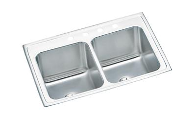"Image for Elkay Lustertone Stainless Steel 33"" x 22"" x 10-1/8"", Equal Double Bowl Top Mount Sink with Perfect Drain from ELKAY"