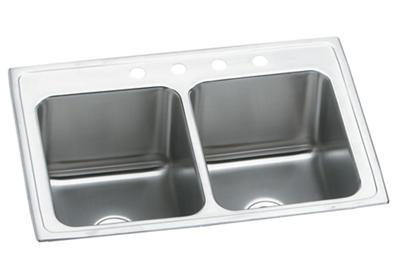 "Image for Elkay Lustertone Stainless Steel 25"" x 19-1/2"" x 10-1/8"", Equal Double Bowl Top Mount Sink from ELKAY"