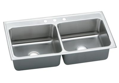 "Image for Elkay Gourmet Stainless Steel 43"" x 22"" x 10-1/8"", Equal Double Bowl Top Mount Sink from ELKAY"