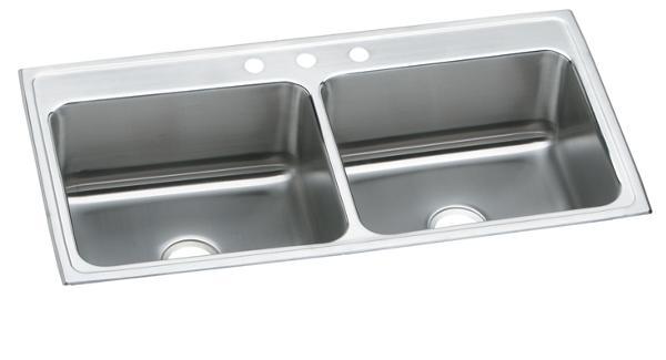 elkay lustertone stainless steel 43   x 22   x 10 1 8   equal double bowl top mount sink dlr432210 elkay lustertone stainless steel 37 u0026 34  x 22 u0026 34  x 10 1 8 u0026 34      rh   elkay com