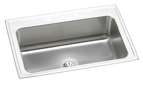 "Elkay Lustertone Stainless Steel 33"" x 22"" x 10"", Single Bowl Top Mount Sink with Perfect Drain"