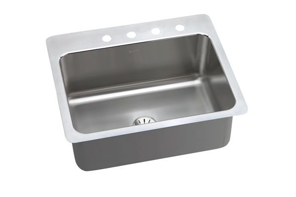 "Elkay Lustertone Stainless Steel 27"" x 22"" x 10"", Single Bowl Dual Mount Sink with Perfect Drain"