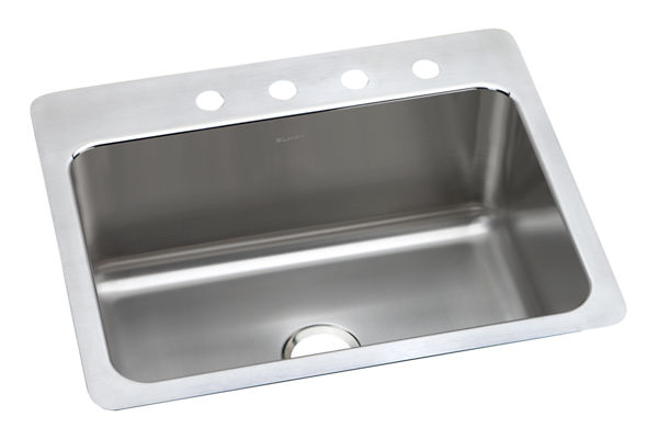 "Elkay Lustertone Stainless Steel 27"" x 22"" x 10"", Single Bowl Dual Mount Sink"