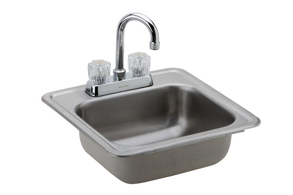 "Dayton Stainless Steel 15"" x 15"" x 5-1/8"", Single Bowl Top Mount Bar Sink + Faucet Kit"
