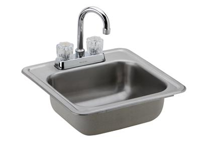 "Image for Dayton Stainless Steel 15"" x 15"" x 5-1/8"", Single Bowl Top Mount Bar Sink + Faucet Kit from ELKAY"