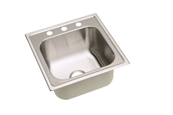 "Dayton Stainless Steel 20"" x 20"" x 10-1/8"", Single Bowl Top Mount Laundry Sink"