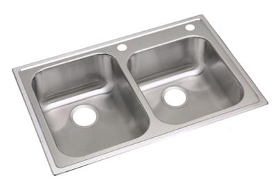 "Image for Dayton Stainless Steel 33"" x 22"" x 8-1/4"", Offset Double Bowl Top Mount Sink from ELKAY"