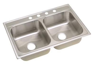 "Image for Dayton Stainless Steel 33"" x 22"" x 8-1/4"", Equal Double Bowl Top Mount Sink from ELKAY"