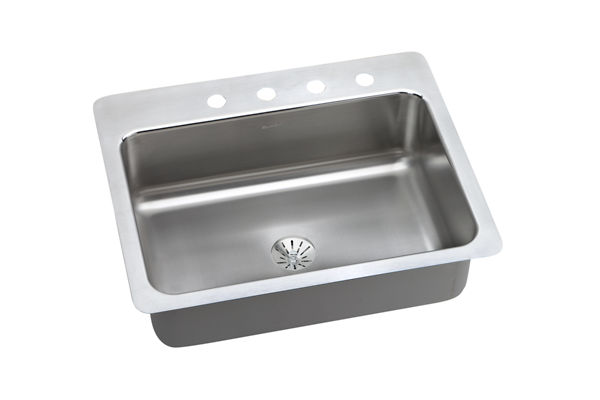 "Dayton Stainless Steel 27"" x 22"" x 8"", Single Bowl Dual Mount Sink with Perfect Drain"