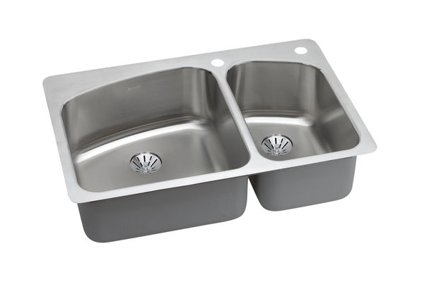 Dayton Premium Stainless Steel Double Bowl Dual / Universal Mount Sink Kit