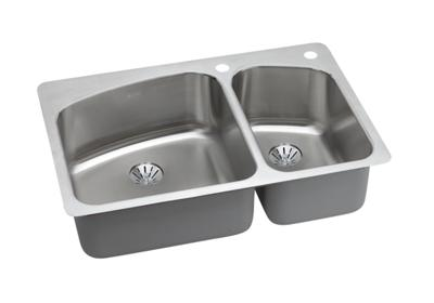 "Image for Dayton Stainless Steel 33"" x 22"" x 8"", Offset Double Bowl Dual Mount Sink with Perfect Drain from ELKAY"