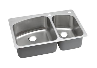 "Image for Dayton Stainless Steel 33"" x 22"" x 8"", Offset Double Bowl Dual Mount Sink from ELKAY"