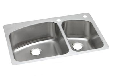 "Image for Dayton Stainless Steel 33"" x 22"" x 8"", 60/40 Double Bowl Dual Mount Sink from ELKAY"