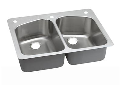 "Image for Dayton Stainless Steel 33"" x 22"" x 8"", Equal Double Bowl Dual Mount Sink from ELKAY"