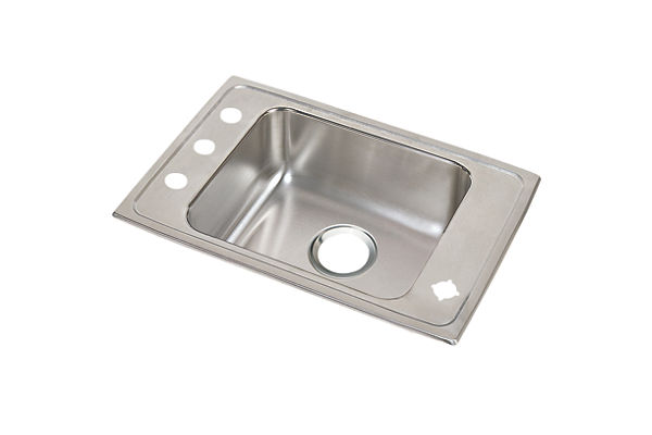 "Elkay Lustertone Classic Stainless Steel 25"" x 17"" x 7-5/8"", Single Bowl Top Mount Classroom Sink"