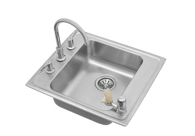 "Image for Elkay Lustertone Stainless Steel 22"" x 19-1/2"" x 6-1/2"", Single Bowl Top Mount Classroom ADA Sink+Faucet/Bubbler Kit from ELKAY"