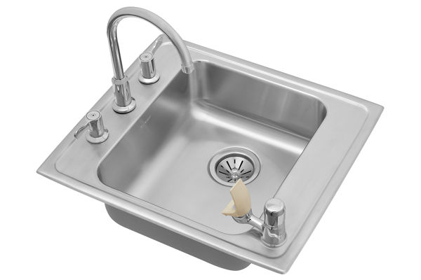 "Elkay Lustertone Stainless Steel 22"" x 19-1/2"" x 5-1/2"", Single Bowl Top Mount Classroom Sink + Faucet/Bubbler Kit"
