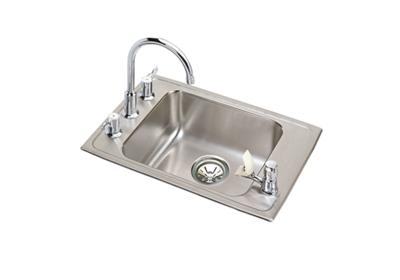 "Image for Elkay Lustertone Stainless Steel 22"" x 19-1/2"" x 4-1/2"", Single Bowl Top Mount Classroom ADA Sink+Faucet/Bubbler Kit from ELKAY"