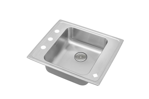 "Elkay Lustertone Stainless Steel 22"" x 19-1/2"" x 6"", Single Bowl Top Mount Classroom Sink with Perfect Drain Grid"