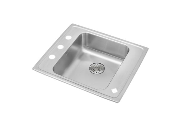 "Elkay Lustertone Stainless Steel 22"" x 19-1/2"" x 6"", Single Bowl Top Mount Classroom ADA Sink w/ Perfect Drain Grid"