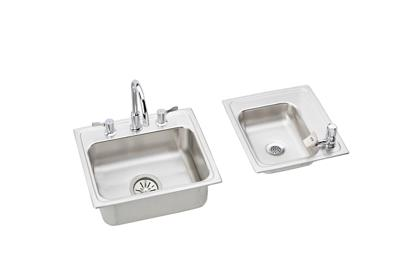 "Image for Elkay Lustertone Stainless Steel 34"" x 17"" x 4"", Double Bowl Top Mount Classroom Sink + Faucet/Bubbler Kit from ELKAY"