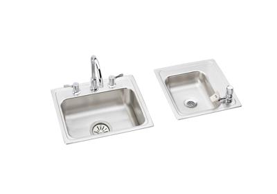 "Image for Elkay Lustertone Stainless Steel 34"" x 17"" x 4"", Double Bowl Top Mount Classroom ADA Sink + Faucet/Bubbler Kit from ELKAY"
