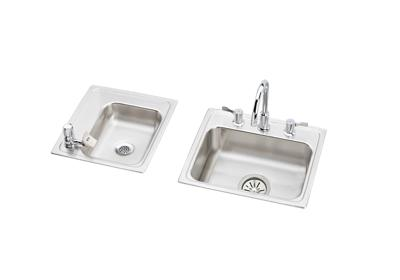 "Image for Elkay Lustertone Stainless Steel 34"" x 17"" x 4-1/2"", Double Bowl Top Mount Classroom ADA Sink + Faucet/Bubbler Kit from ELKAY"