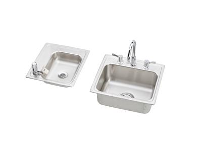 "Image for Elkay Lustertone Stainless Steel 34"" x 17"" x 5-1/2"", Double Bowl Top Mount Classroom Sink + Faucet/Bubbler Kit from ELKAY"