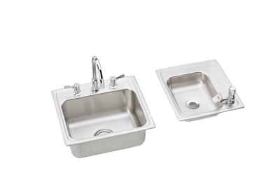 "Image for Elkay Lustertone Stainless Steel 34"" x 17"" x 6-1/2"", Double Bowl Top Mount Classroom ADA Sink + Faucet/Bubbler Kit from ELKAY"