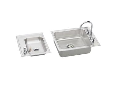 "Image for Elkay Lustertone Stainless Steel 41"" x 19-1/2"" x 5"", Double Bowl Top Mount Classroom Sink + Faucet/Bubbler Kit from ELKAY"