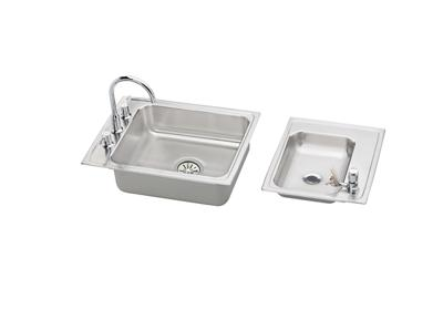 "Image for Elkay Lustertone Stainless Steel 41"" x 19-1/2"" x 5"", Double Bowl Top Mount Classroom ADA Sink + Faucet/Bubbler Kit from ELKAY"