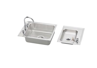 "Image for Elkay Lustertone Stainless Steel 41"" x 19-1/2"" x 6"", Double Bowl Top Mount Classroom ADA Sink + Faucet/Bubbler Kit from ELKAY"