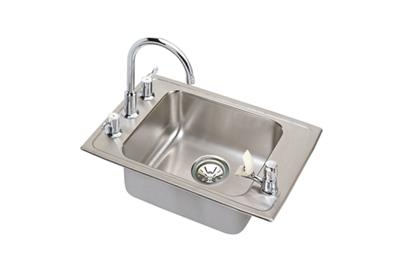 "Image for Elkay Lustertone Stainless Steel 25"" x 17"" x 5"", Single Bowl Top Mount Classroom Sink + Faucet/Bubbler Kit from ELKAY"