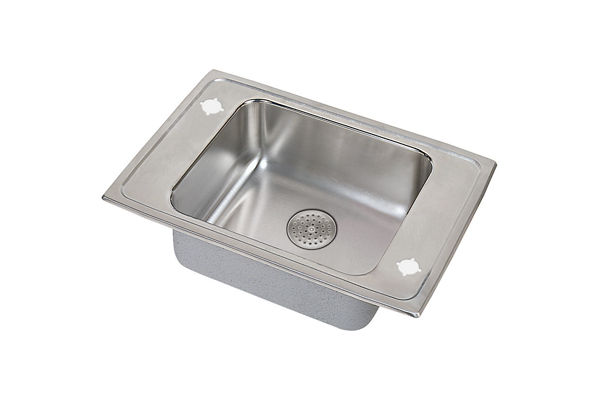 "Elkay Lustertone Stainless Steel 25"" x 17"" x 5-1/2"", Single Bowl Top Mount Classroom Sink with Perfect Drain Grid"