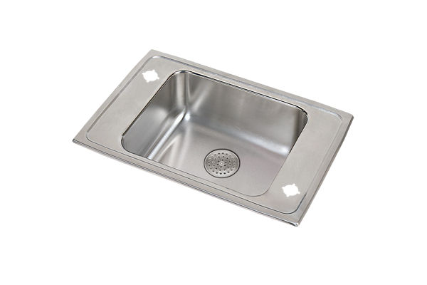 "Elkay Lustertone Stainless Steel 25"" x 17"" x 5-1/2"", Single Bowl Top Mount Classroom ADA Sink w/ Perfect Drain Grid"
