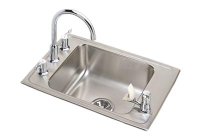 "Image for Elkay Lustertone Stainless Steel 25"" x 17"" x 5-1/2"", Single Bowl Top Mount Classroom ADA Sink + Faucet/Bubbler Kit from ELKAY"