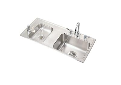 "Image for Elkay Lustertone Stainless Steel 37-1/4"" x 17"" x 5"", Double Bowl Top Mount Classroom ADA Sink + Faucet/Bubbler Kit from ELKAY"