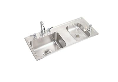 "Image for Elkay Lustertone Stainless Steel 37-1/4"" x 17"" x 4-1/2"", Double Bowl Top Mount Classroom ADA Sink+Faucet/Bubbler Kit from ELKAY"