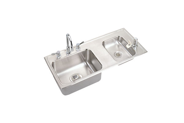Lustertone® Stainless Steel Double Bowl Top Mount Quick-Clip® Sink + Faucet Kit