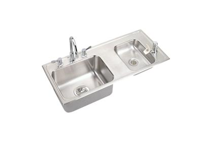 "Image for Elkay Lustertone Stainless Steel 37-1/4"" x 17"" x 5-1/2"", Double Bowl Top Mount Classroom Sink + Faucet/Bubbler Kit from ELKAY"