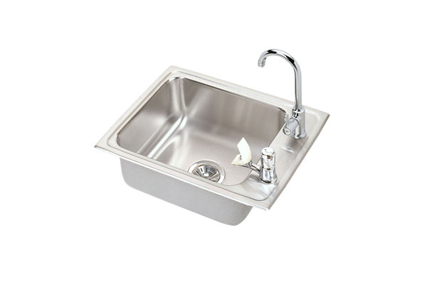 "Elkay Lustertone Stainless Steel 22"" x 17"" x 7-5/8"", Single Bowl Top Mount Classroom Sink + Faucet/Bubbler Kit"