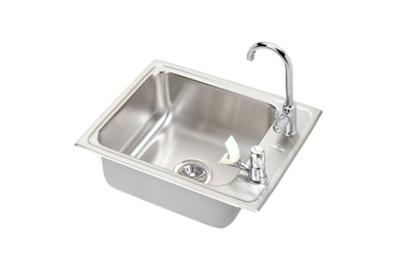 "Image for Elkay Lustertone Stainless Steel 22"" x 17"" x 7-5/8"", Single Bowl Top Mount Classroom Sink + Faucet/Bubbler Kit from ELKAY"