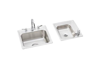 "Image for Elkay Lustertone Stainless Steel 34"" x 17"" x 7-5/8"", Double Bowl Top Mount Classroom Sink + Faucet/Bubbler Kit from ELKAY"