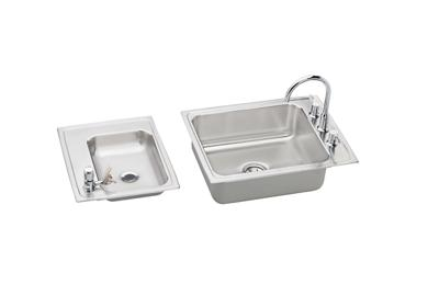 "Image for Elkay Lustertone Stainless Steel 41"" x 19-1/2"" x 7-5/8"", Double Bowl Top Mount Classroom Sink + Faucet/Bubbler Kit from ELKAY"
